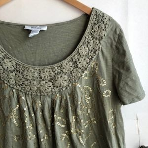 STYLE CO Olive Green Sequin Floral Crochet Blouse